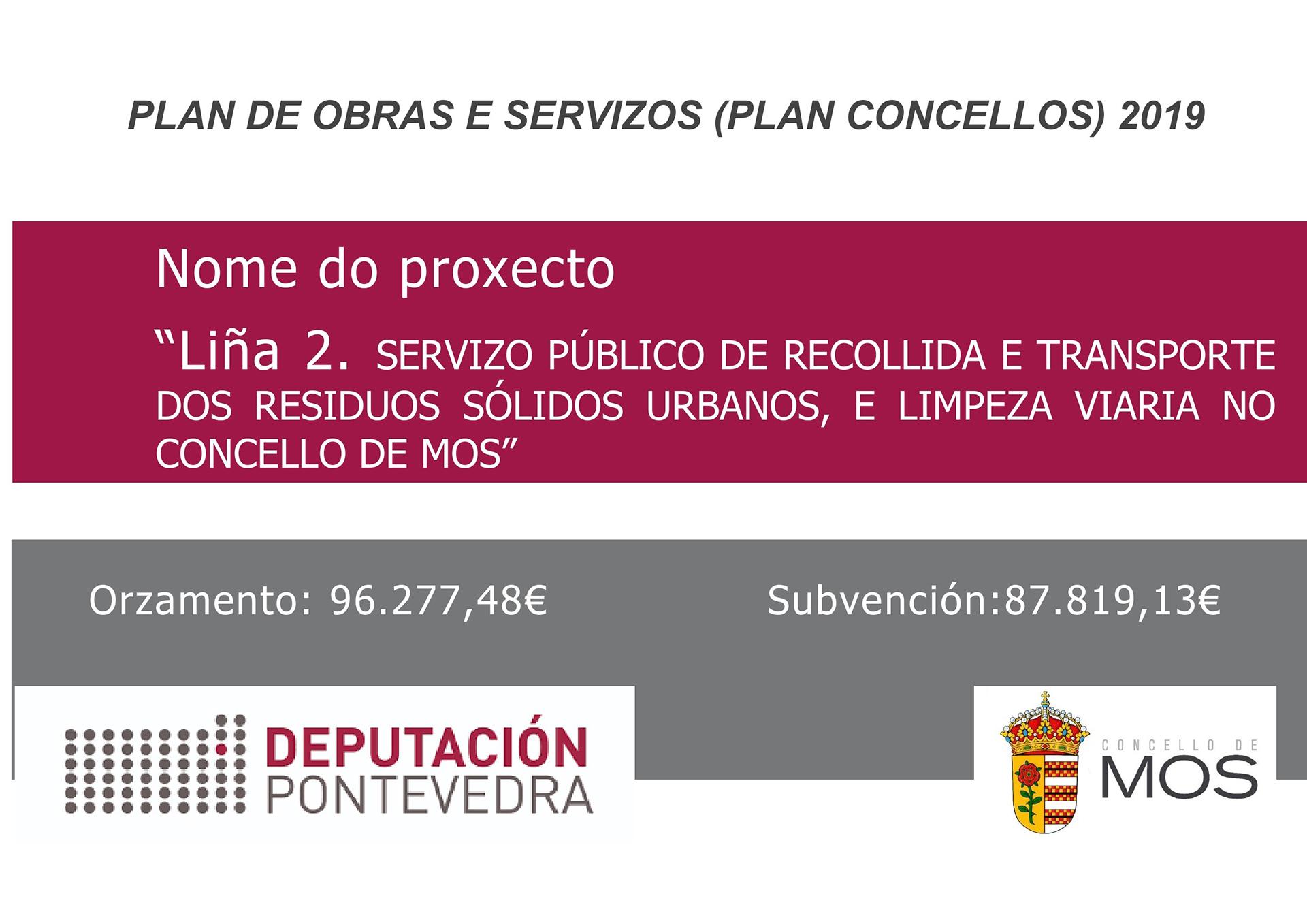 Plan de obras e servizos 2019 - Liña 2